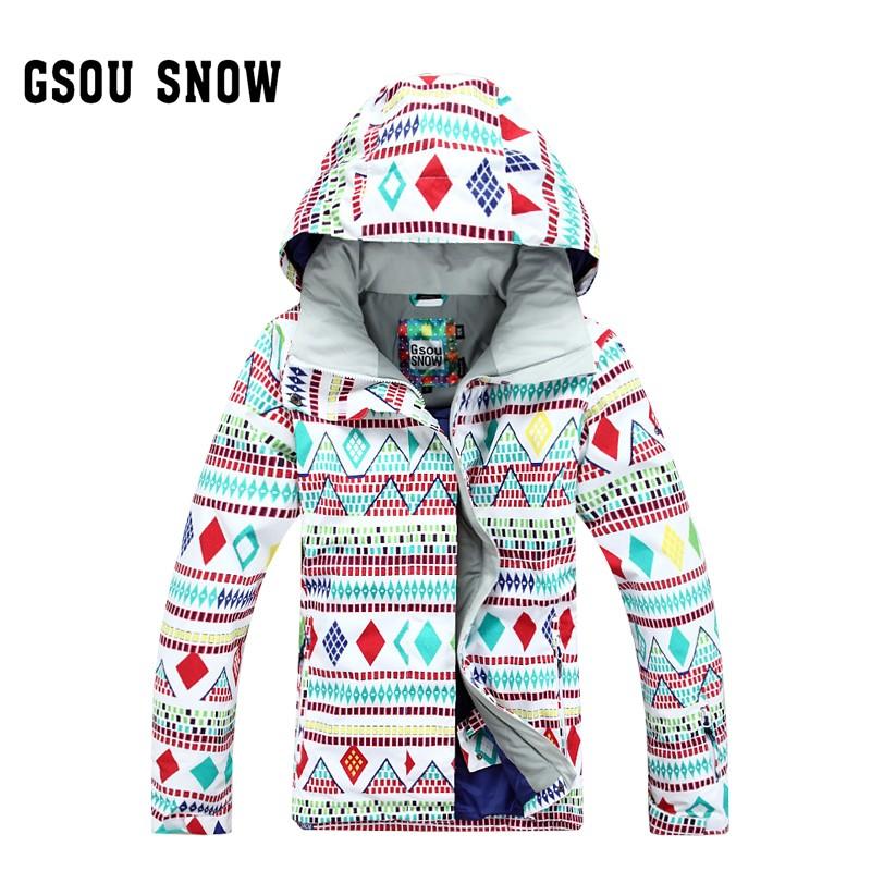 64598ebac0365 Женская зимняя водонепроницаемая, ветрозащитная горнолыжная куртка Gsou SNOW,  красивая женская сноубордическая куртка Gsou SNOW