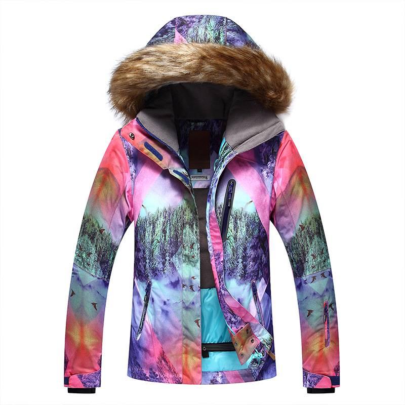 5ce2a13f556d9 Женская теплая, водонепроницаемая, ветрозащитная зимняя лыжная куртка Gsou  Snow